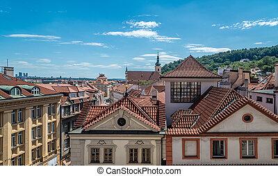 Prague city house roof view