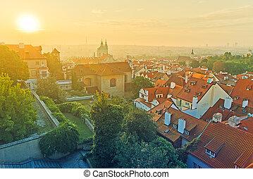 Prague City Morning Skyline