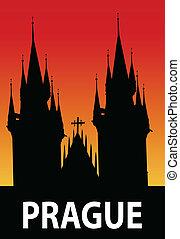 Prague - vector illustration