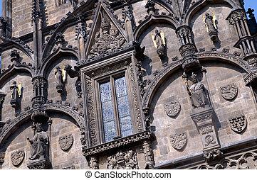 Prague. Close up of Powder gate - Prasna Brana next to...