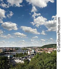 Prague - Czech Government Building, Petrin Hill, Vltava River and bridges