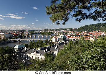 Prague - Czech Government Building, Vltava River and bridges