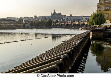 View of the Vltava river, Prague castle and Charles bridge ...