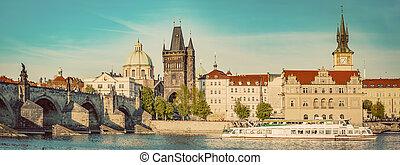 Prague, Czech Republic. Charles Bridge, boat cruise on Vltava river. Vintage
