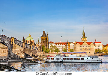 Prague, Czech Republic. Charles Bridge, boat cruise on...