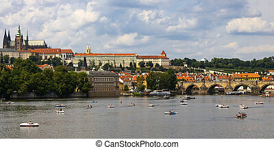 Prague Czech Republic Charles Bridge walk along the river.