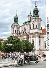 Prague, Czech Republic, – July 19, 2012: Photo of Saint Nicholas church in historical center of old city