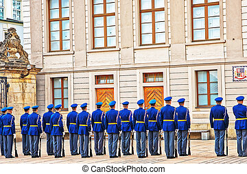 Change of guard procedure in Prague Castle - Prague, Czech...
