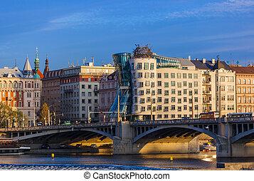 Prague, Czech Republic - November 02, 2017: Famous Dancing House in center of city