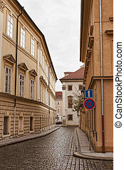 Narrow streets of Prague in the central part of the city