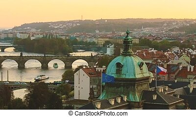 Prague, Czech Republic. Panoramic View Of Evening Cityscape...
