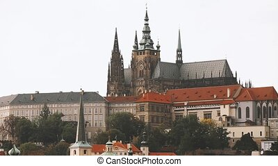 Prague, Czech Republic. Prague Castle And Metropolitan...