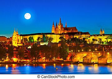 "Prague Castle in the evening. Prague is often called ""the Golden City""."