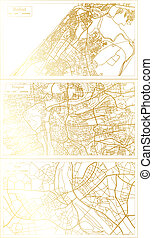 Prague Czech Republic, Riga Latvia and Rabat Morocco City Map Set in Retro Style in Golden Color. Outline Map.