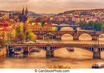 Prague, Czech Republic: romantic bridges that crosses Vltava river