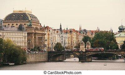 Prague, Czech Republic. Tram Moving In Legion Bridge In...