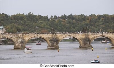 Prague, Czech Republic. View Of The Charles Bridge And...