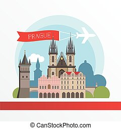 Prague detailed silhouette. Trendy stylish colorful landmarks.