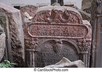 gravestones at Prague's ancient Jewish cemetary