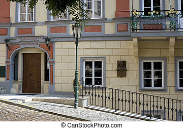 Prague - Historic house with sculpture at Lasser Town