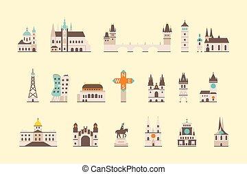 Prague historical building - vector graphics, modern flat...
