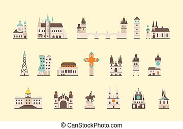 Prague historical building - vector graphics, modern flat...