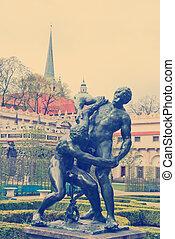 prague, historique, centre, statue