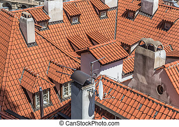 Prague houses roof view