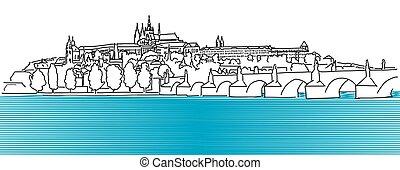 Prague Hradschin Vector Outline Sketch