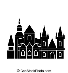 prague icon, vector illustration, black sign on isolated...