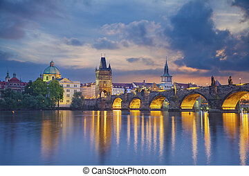 Image of Prague, capital city of Czech Republic and Charles Bridge, during twilight blue hour.