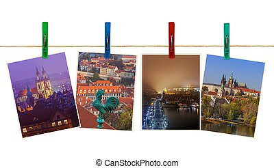 Prague in Czech republic images on clothespins - Prague in...