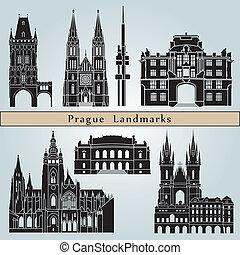 Prague landmarks and monuments isolated on blue background...