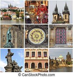 Prague landmarks collage