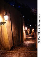 prague, lanternes, ruelle, escalier, nuit