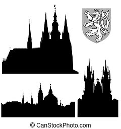 Famous monuments of Prague - Prague castle, church of Saint Nikolas, church of Our Lady front Tyn and coat of arms.