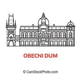 Prague Municipal House Line Emblem - Prague Municipal house...
