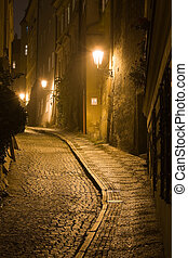 Old lane in Prague Little Quarter at night lighting.