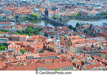 Prague old town and Charles bridge landmark.