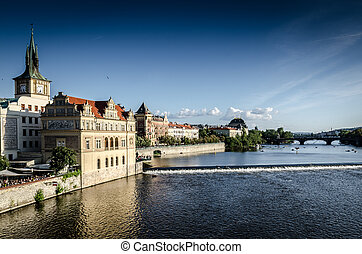 Prague Old Town and Vltava river - Old Town from the Charles...