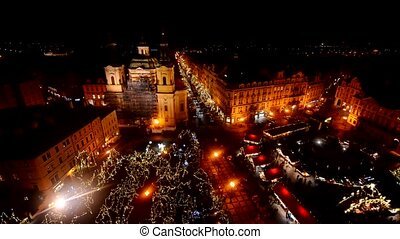 Prague Old Town main square at night