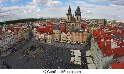 """prague, old town square, czech republic, timelapse, zoom in, 4k"""
