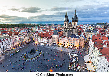 Prague Old Town Square - Old Town Square at dusk Prague, ...