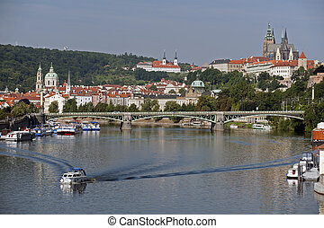 Prague panorama with Vltava River