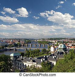Prague - Panoramic view and Charles Bridge across Vltava River