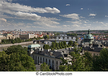 Prague - panoramic view with Vltava River and bridges