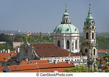 Prague - Panoramic with St. Nicholas cathedral and Lesser ...