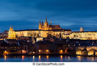 prague., panoramique, image, de, prague, ville capitale, de,...
