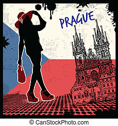 Prague poster - Prague vintage grunge poster, vector...