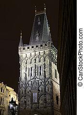 Prague Powder Tower At Night